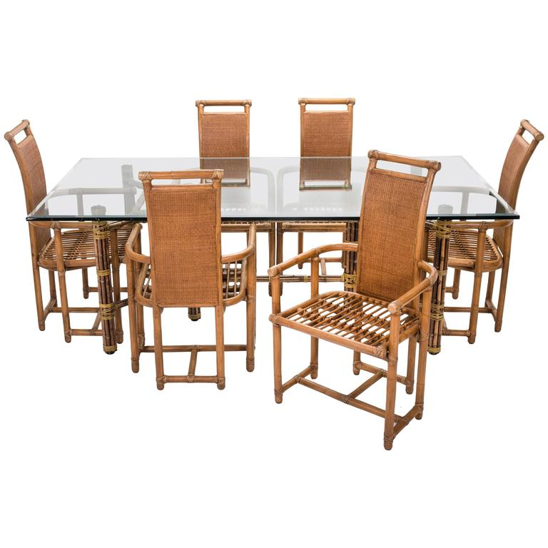 Incroyable Mid Century McGuire Bamboo Dining Table Chairs Set For Sale