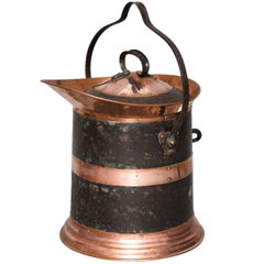 Copper and Iron Lidded Coal Scuttle