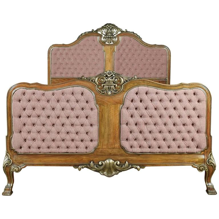 Walnut and Parcel-Gilt King-Size Bed