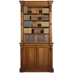 Very Large 19th Century Light Oak Bookcase