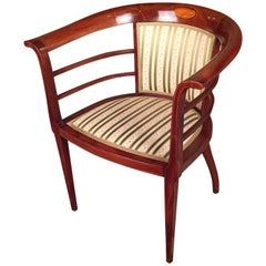 19th Century Art Nouveau Armchair Solid Mahogany