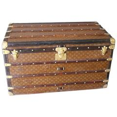 1930s Stenciled Monogram Louis Vuitton Steamer Trunk, Malle Louis Vuitton