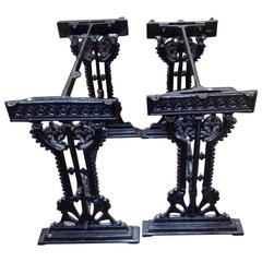 Near Pair of Aesthetic Movement Cast Iron Garden Tables by Hufton, Birmingham