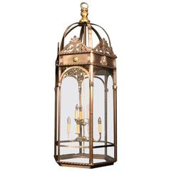 French Eight-Light Monumental Cherub Iron Hexagonal Lantern