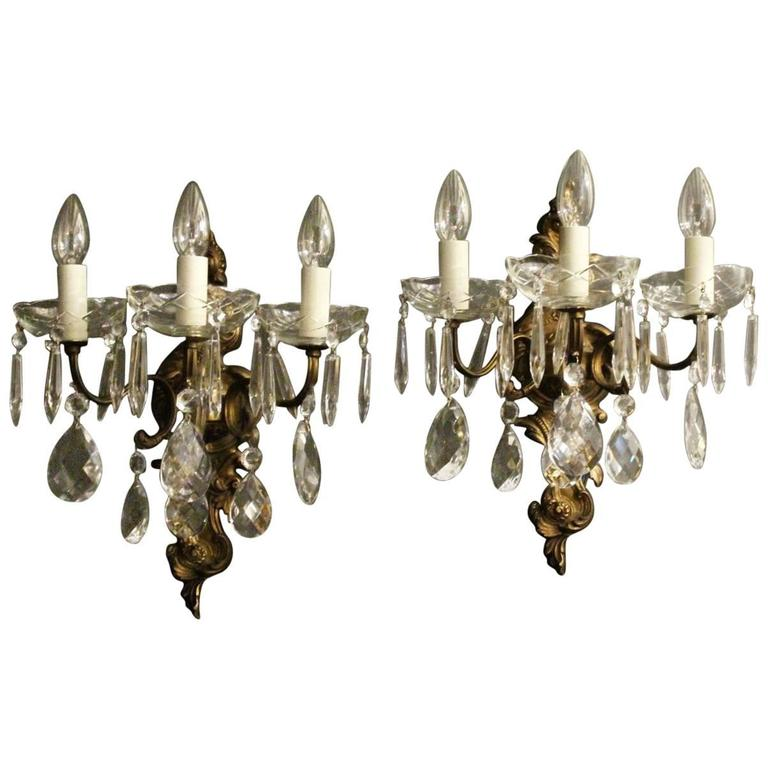 Italian Pair of Gilded Triple Arm Antique Wall Lights