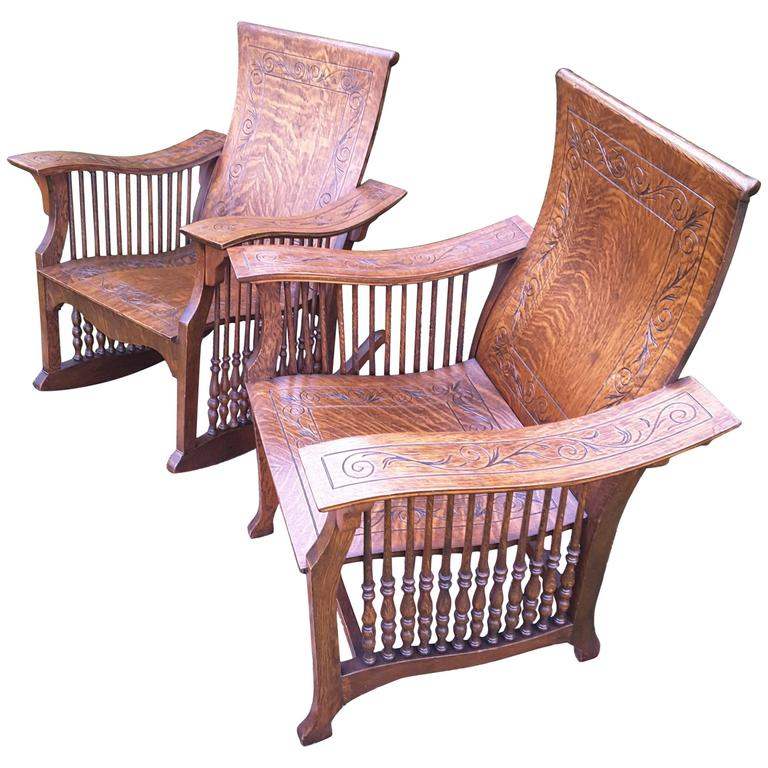 Matched Pair of Quarter Cut Sawn Oak Bentwood Carved Chairs For Sale