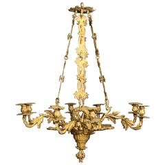French Gilded Bronze Eight-Light Candle Chandelier
