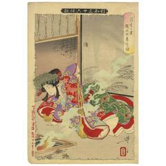 Yoshitoshi Tsukioka 19th Century Japanese Woodblock Print Ukiyo-e-ghost & Beauty