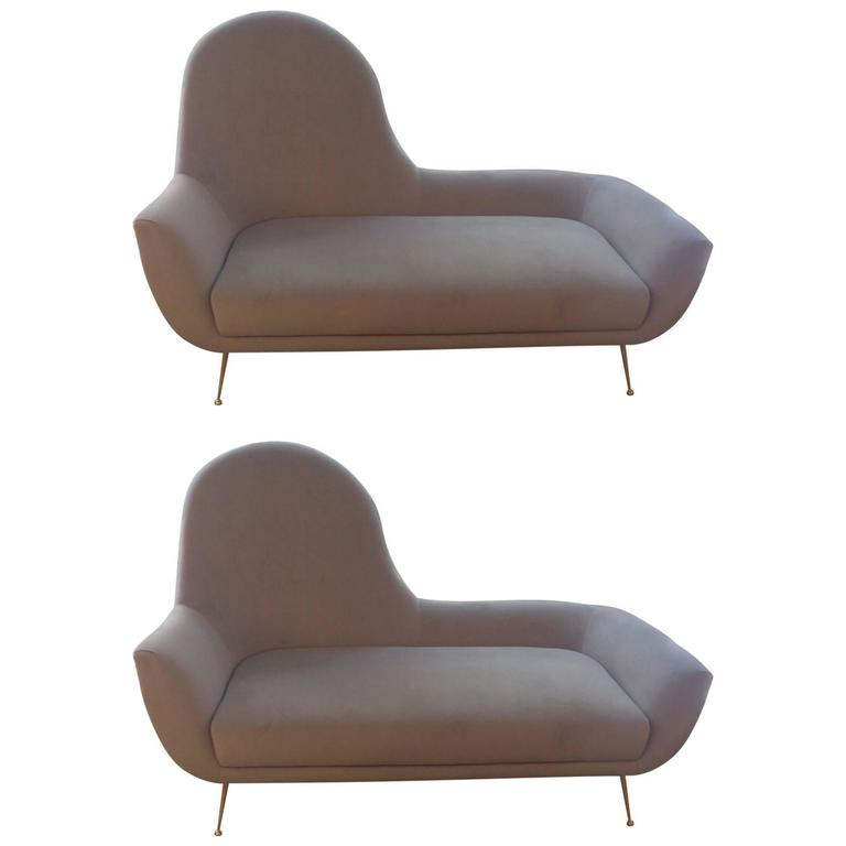 Pair of italian sofa 39 s or chaise longues in the style of for Chaise longue style sofa