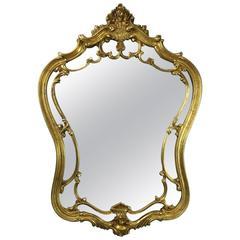 Vintage Louis XIV Style Serpentine Pierced Giltwood Wall Mirror, circa 1950