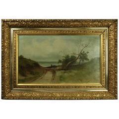 Antique Primitive Oil on Canvas Seascape/Landscape, 1st Finish Gilt Frame