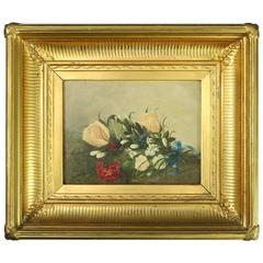 Antique Oil on Board Floral Painting in 1st Finish Gilt Frame, Signed