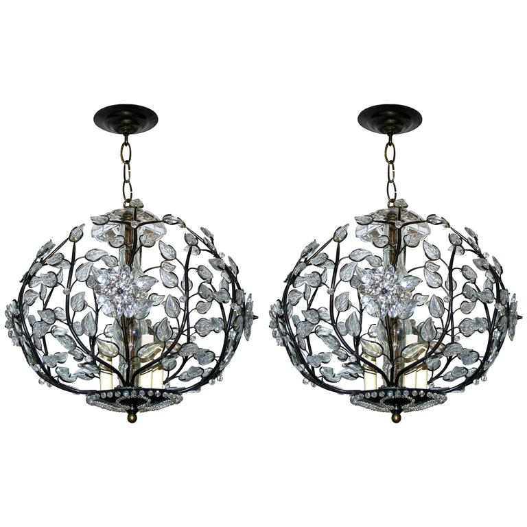 Pair of Bronze and Crystal Lanterns