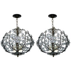 Pair of Bronze and Crystal Lanterns. Sold individually.
