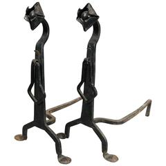 Pair of Antique Yellin School Arts & Crafts Wrought Iron Fireplace Andirons