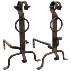 Antique Old World England Hand-Forged Iron Fire Place Andirons Pair, circa 1820