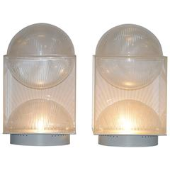 Pair of Missaglia Engraved Perspex Table Lamps