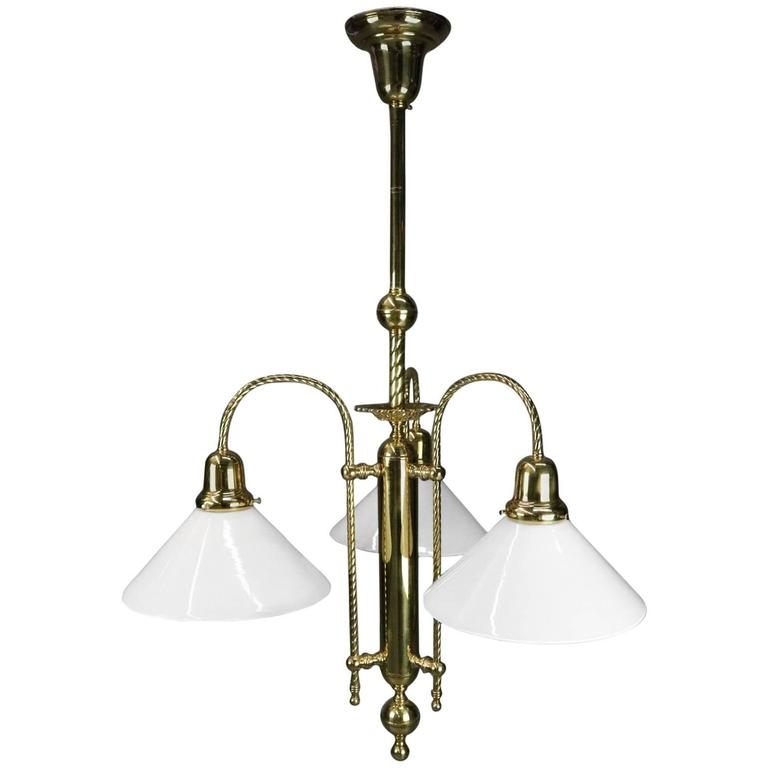 Vintage French Brass Three-Light Twisted Rope Hanging Fixture, 20th Century For Sale