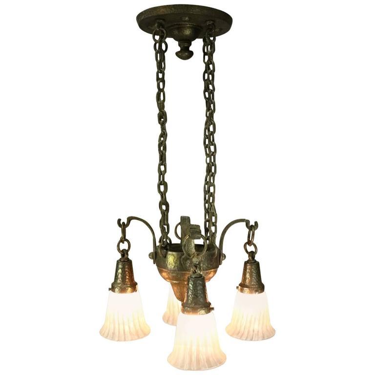 Vintage mission arts and crafts four light hanging light for Arts and crafts flush mount lighting