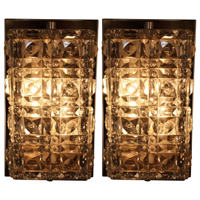 Pair of 1970s Crystal and Chrome Wall Sconces by Kinkeldey