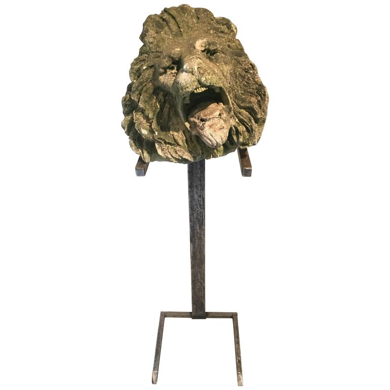 17th Century Limestone Lion's Head on Contemporary Polished Steel Stand