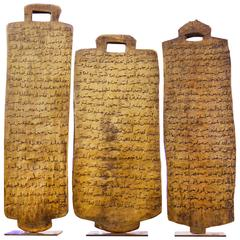 Koranic Tablets Set of Three Sculpture from Ethiopia