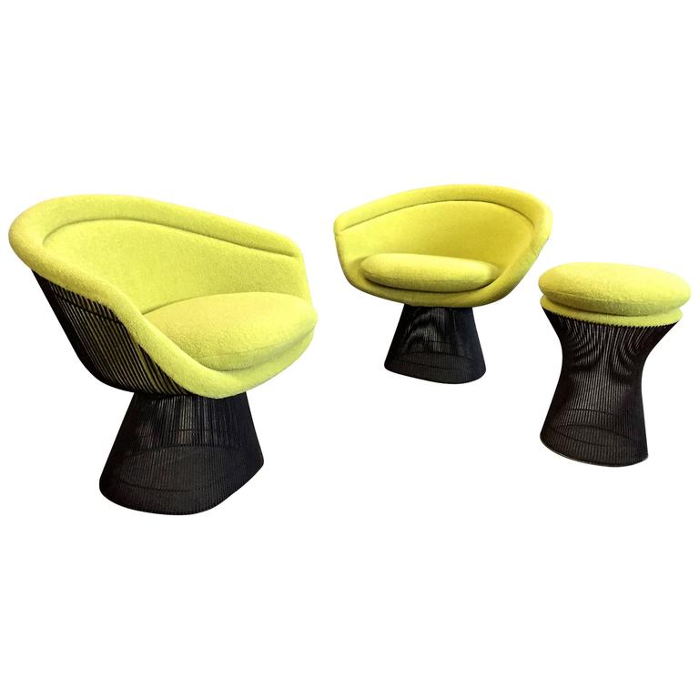 Warren Platner Bronze Lounge Chairs and Stool in Classic Boucle Chartreuse, Pair 1