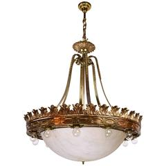1920s Empire Style Cast Bronze Fifteen-Light Chandelier