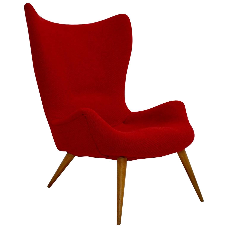 Red Mid-Century Modern Lounge Chair Beech 1950s