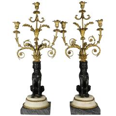 Pair of 19th Century Louis XVI Style Bronze and Marble Sphinx Candelabra