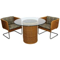 Mid-Century Modern Harvey Probber Wicker Patio Set Pair of Basket Chairs & Table