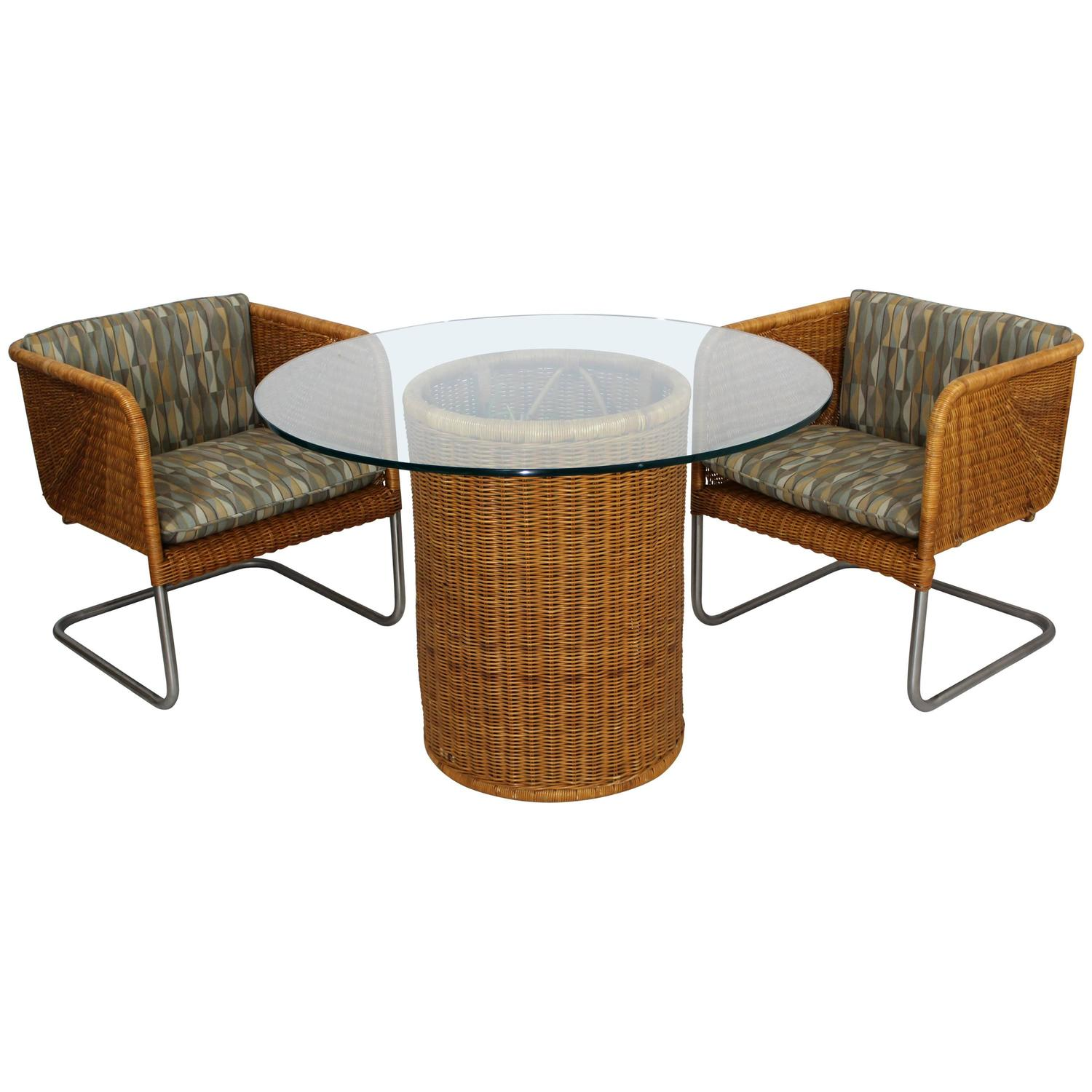 Italian Wicker Patio Furniture Set Table and Two Chairs circa