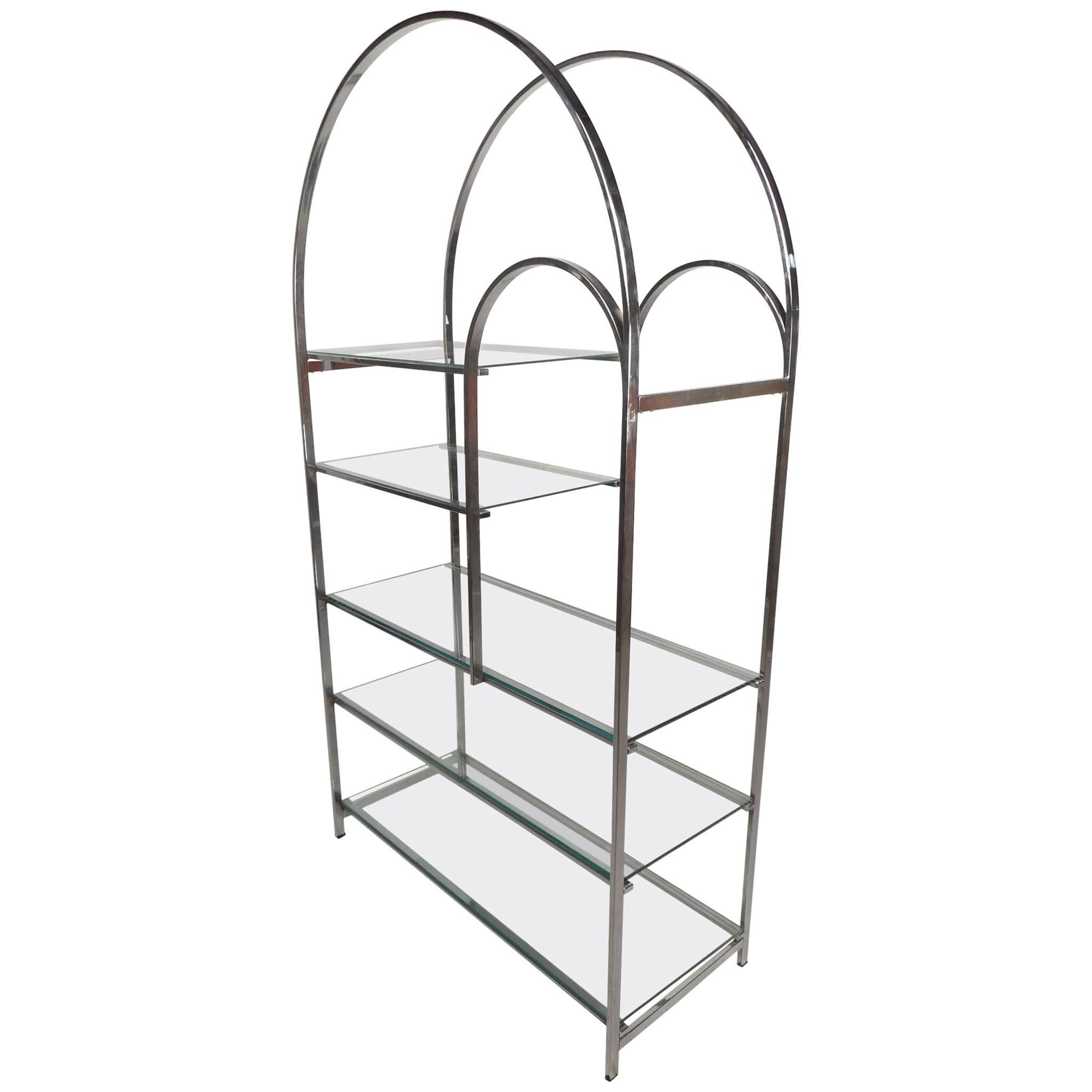 Exquisite Mid-Century Modern Chrome Étagère in the Style of Milo Baughman