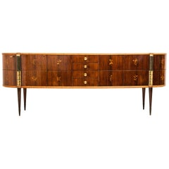 Italian Midcentury Oval Shaped Outstanding Sideboard by Pier Luigi Colli