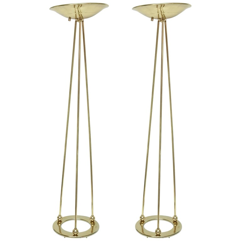 Pair of Vintage Casella Sculptural Polished Brass Torcheres/Floor Lamps