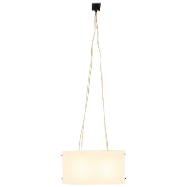 Italian Pendant Lamp In Brass And Plexi 1960 For Sale