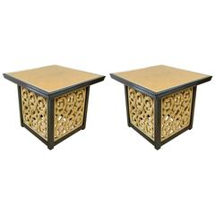 Pair Of Mid Century Hollywood Regency Black Lacquered Tables By Widdicomb