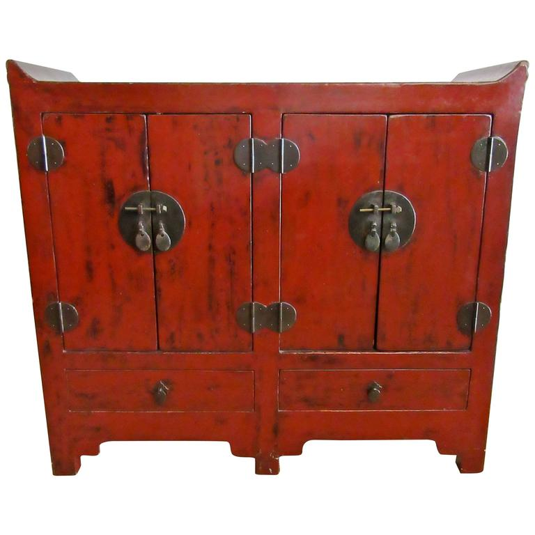 Small red lacquer chinese cabinet 19th century for sale for Red chinese furniture
