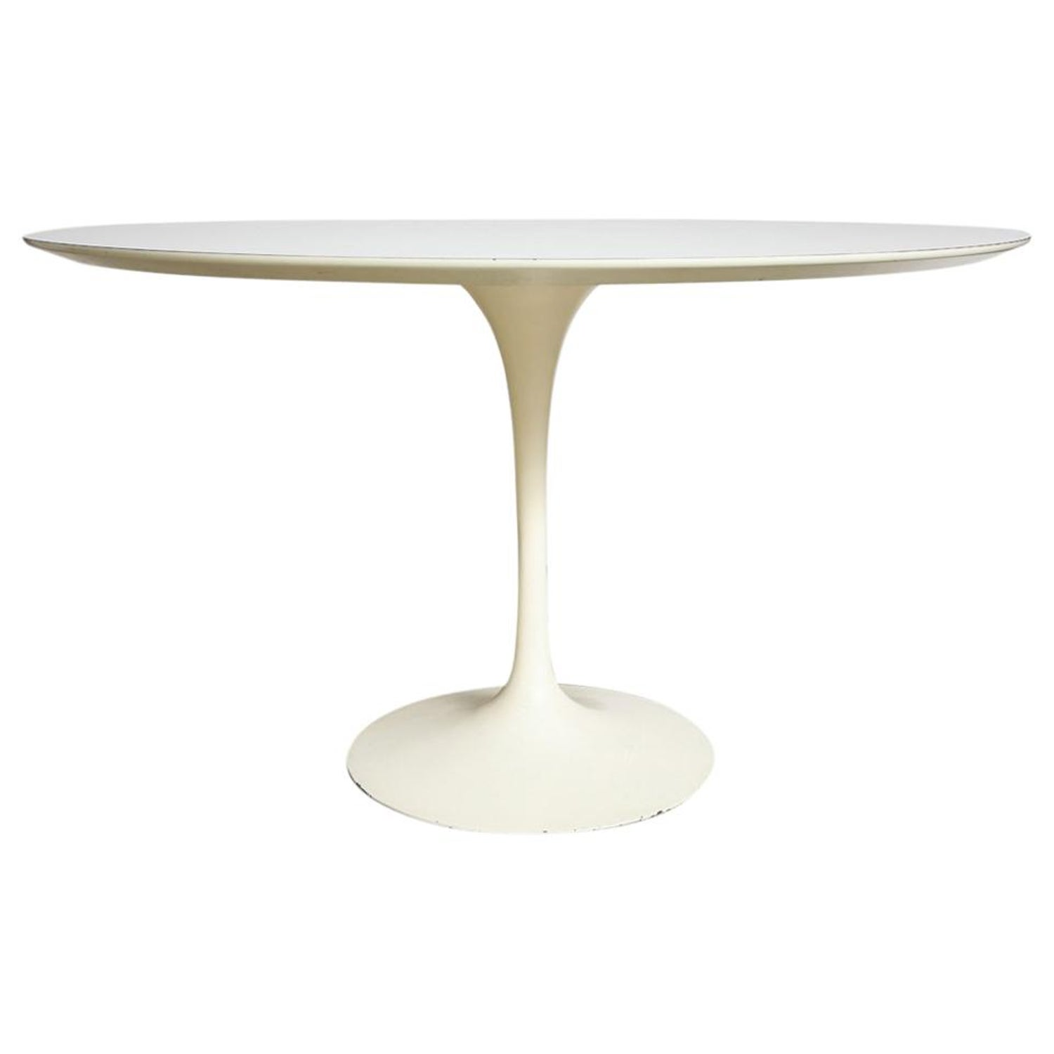 d06dfeaf23c0 Knoll Saarinen Round Dining Table White Laminate Cast Iron at 1stdibs