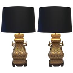 Pair Of Brass Chinese Style Table Lamps For Sale At 1stdibs