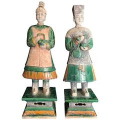 "Important Ancient Chinese Pair Tall 32"" Male and Female Attendants, 1368-1644"