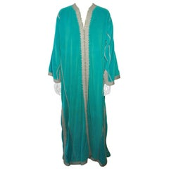 Moroccan Turquoise Caftan Maxi Dress Kaftan size L to XL