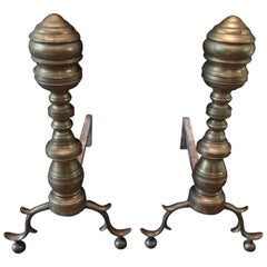 Pair of Antique Brass Chippendale Style Andirons