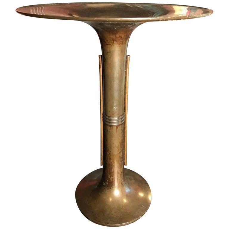 """Japan Bronze Modernist Vase - Simple Design 13.75""""  Vase Signed For Sale"""