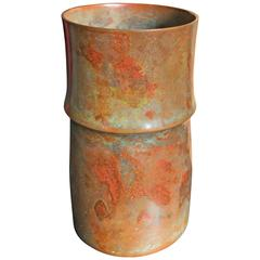 Beautiful Bamboo Motif Japan Bronze Vase Mint, Signed and Boxed