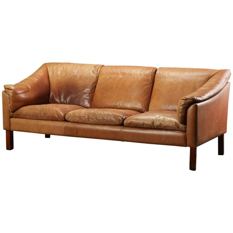 Danish Modern Leather Upholstered Sofa For Sale