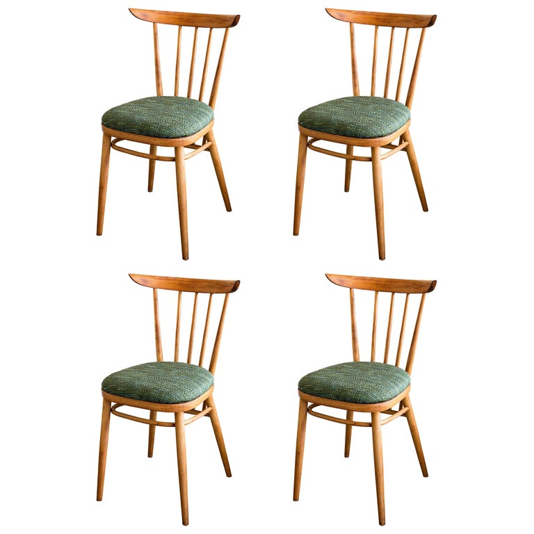 Set of Four 1950s French Dining Chairs