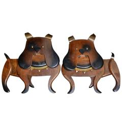 Pair of 1962 Wood and Brass Dog Wall Art