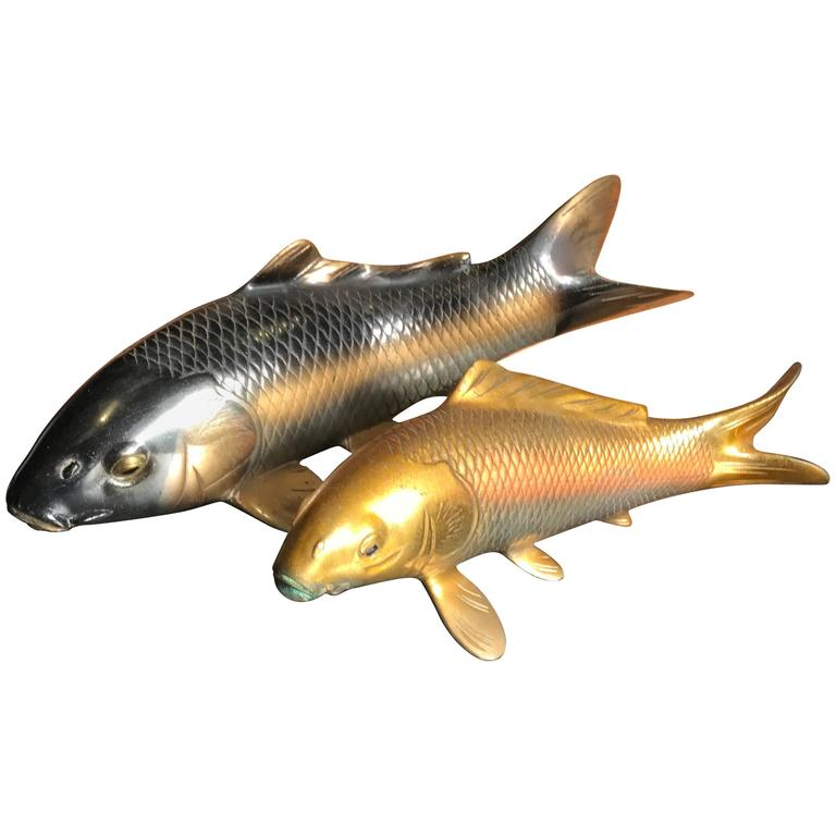 Japanese Finely Cast Bronze Pair of Koi Signed, Mint and Boxed