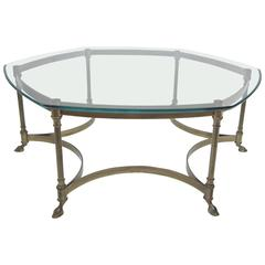 Brass Mastercraft Cocktail Table, Hexagonal with Glass Top